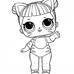 Раскраски кукла лол для детей «Кошка», чтобы распечатать