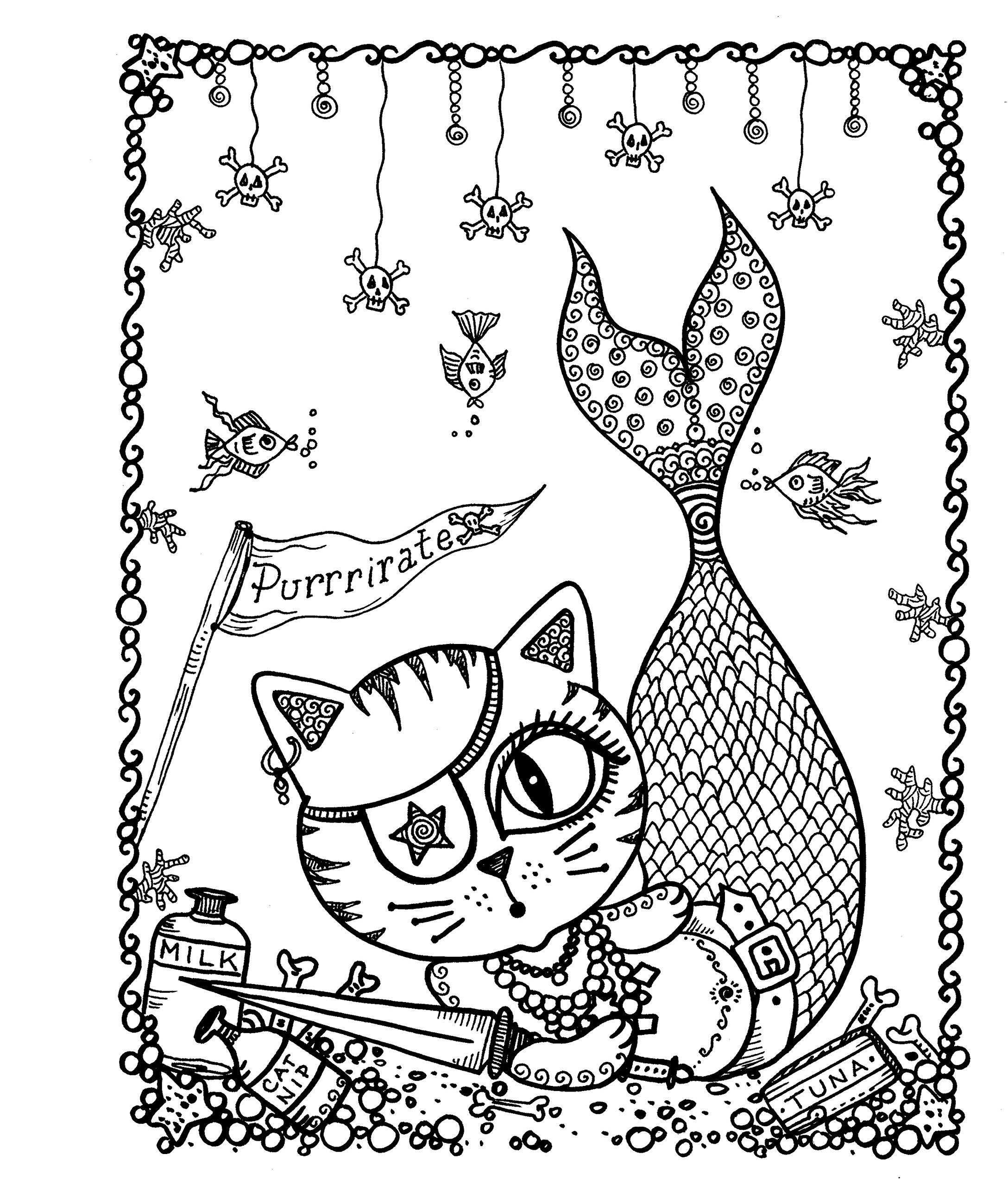 Раскраски сложные для взрослых антистресс «Кошечка русалка пират», чтобы распечатать