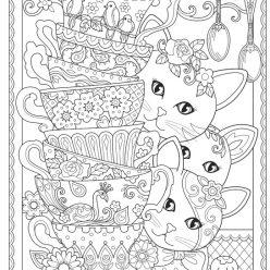 Раскраски сложные для взрослых антистресс «Кошки с посудой», чтобы распечатать