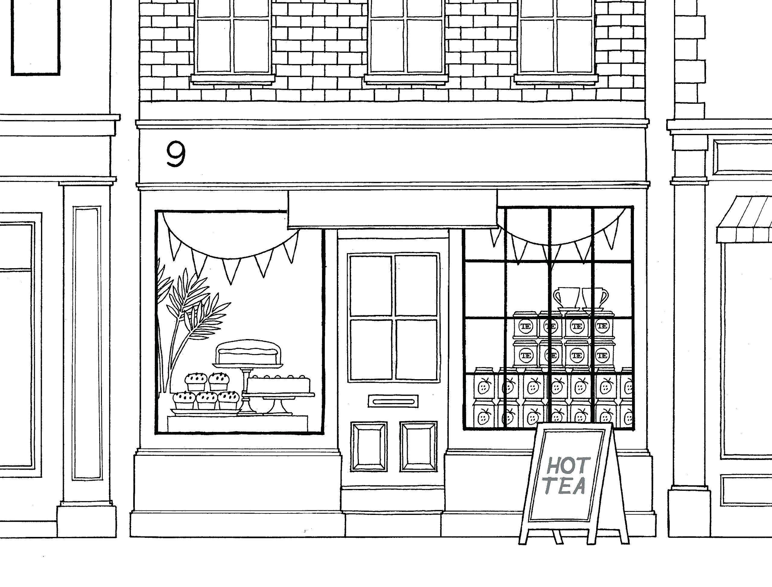 Раскраски сложные для взрослых антистресс  город «Кафе в лондоне», чтобы распечатать