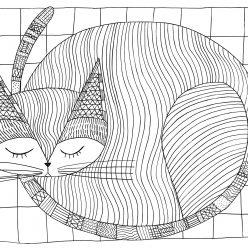 Раскраски сложные для взрослых антистресс «Кот на ковре», чтобы распечатать