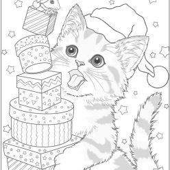 Раскраски сложные для взрослых антистресс Новый год «Кот и мышка с подарками», чтобы распечатать