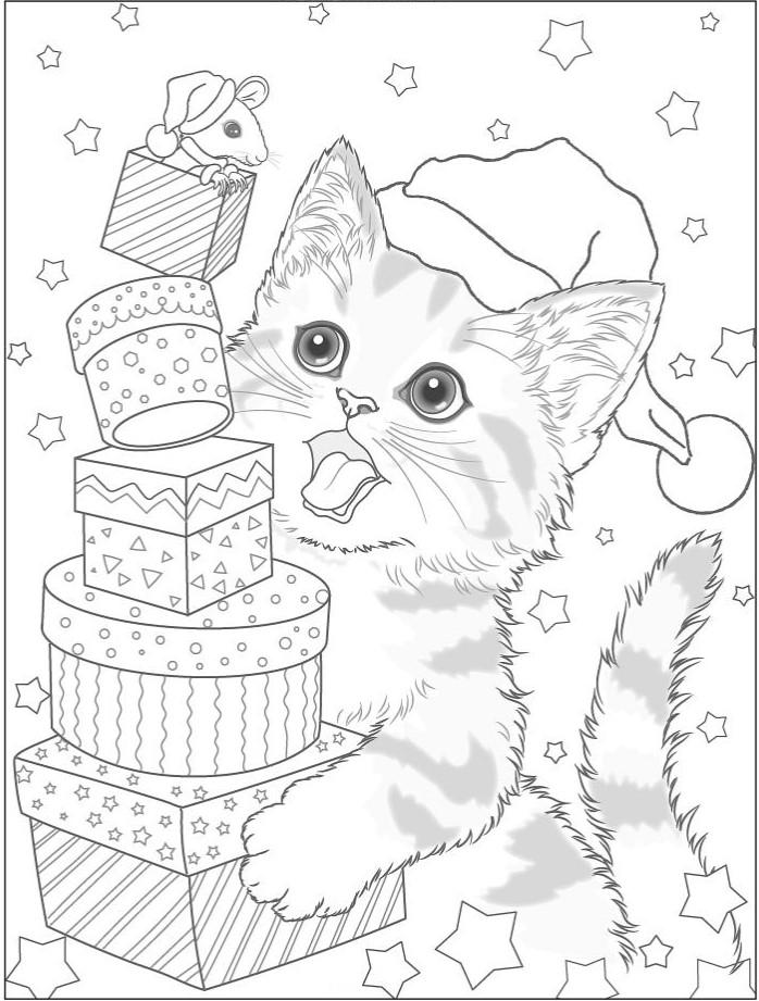 Кот и мышка с подарками - Новый год - Раскраски антистресс