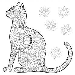 Раскраски антистресс «Силуэт кошки», чтобы распечатать в хорошем качестве