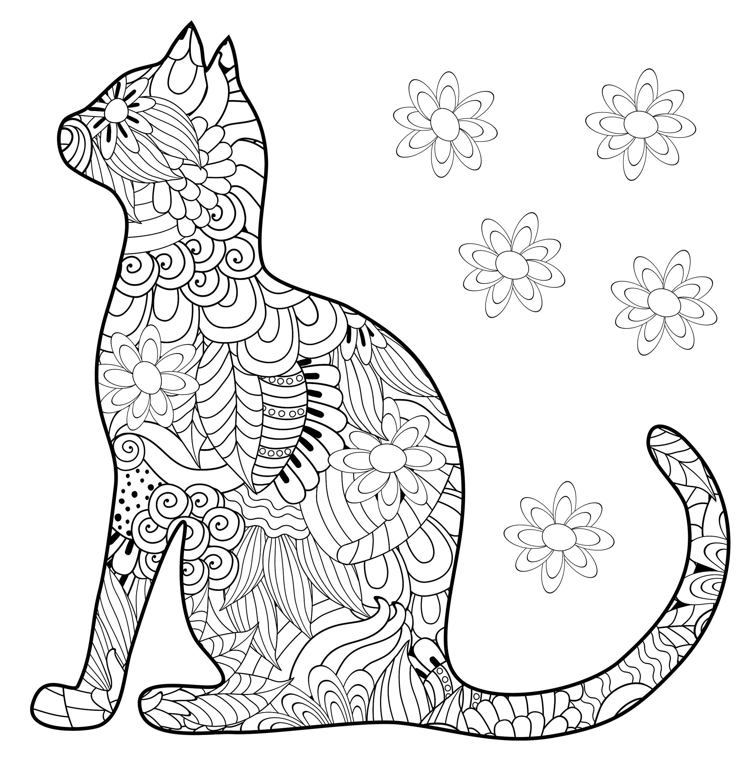 Раскраски антистресс «Силуэт кошки», чтобы распечатать и раскрасить онлайн