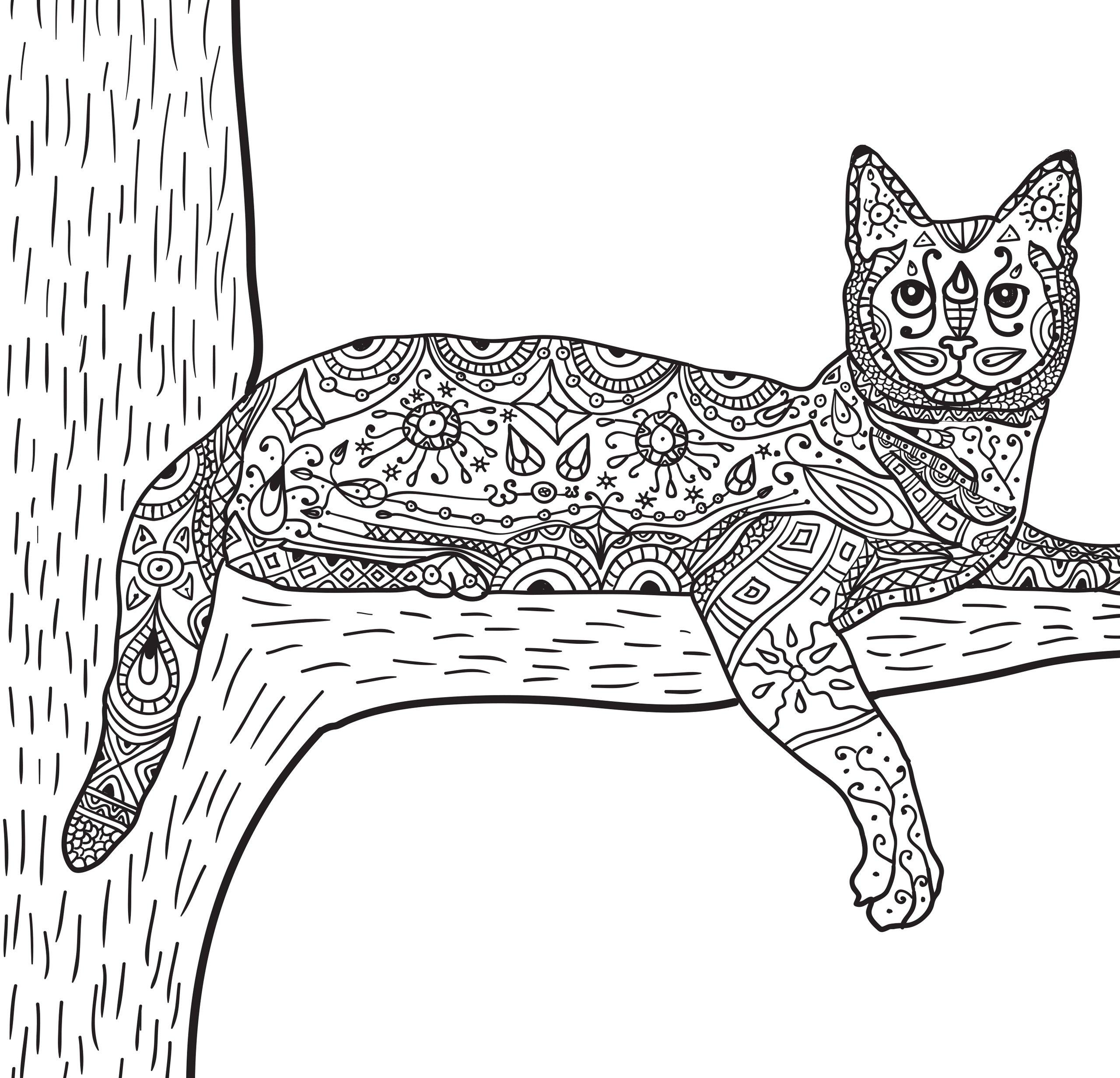 Раскраски антистресс «Кошка на дереве», чтобы распечатать