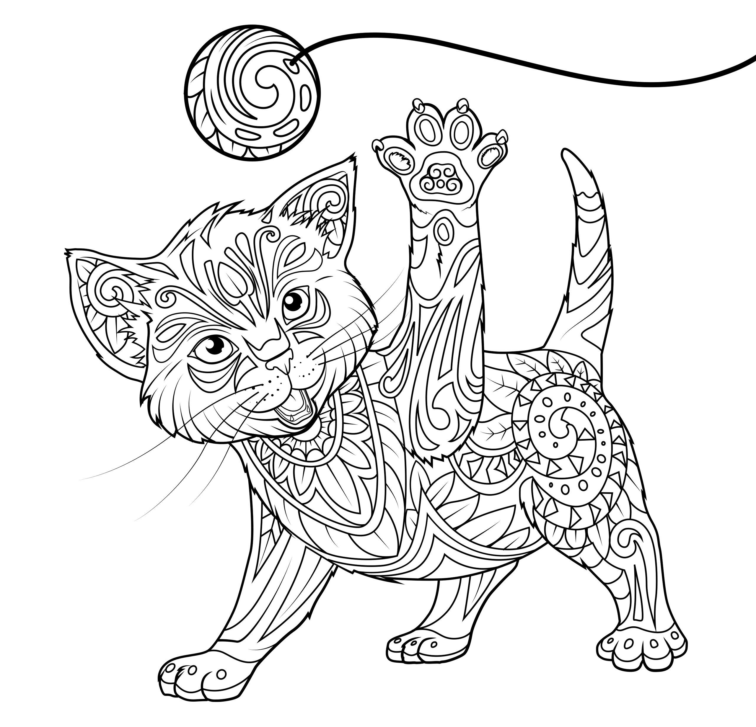 Раскраски антистресс в хорошем качестве «Котенок с игрушкой мячиком», чтобы распечатать