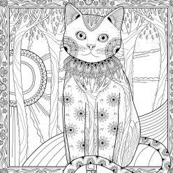 Раскраски антистресс кортина «Кошка-природа», чтобы распечатать