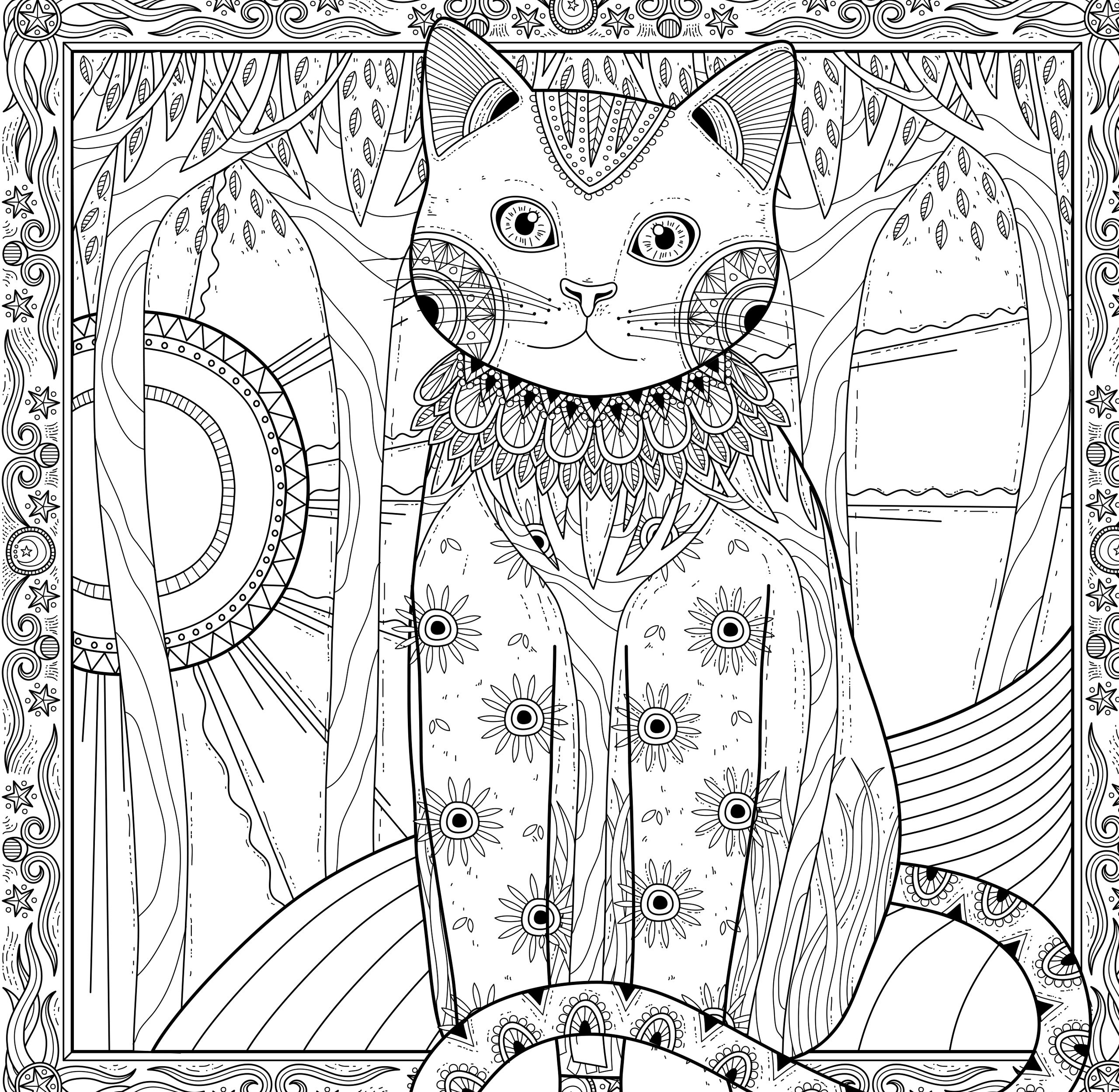 Картина «Кошка-Природа» - Животные - Раскраски антистресс