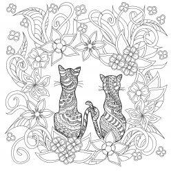 Раскраски антистресс «влюбленная пара кошечек», чтобы распечатать