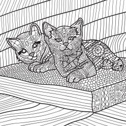 Раскраски антистресс «Котики на отдыхе», чтобы распечатать и раскрасить