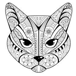 Раскраски антистресс «морда кота», чтобы распечатать
