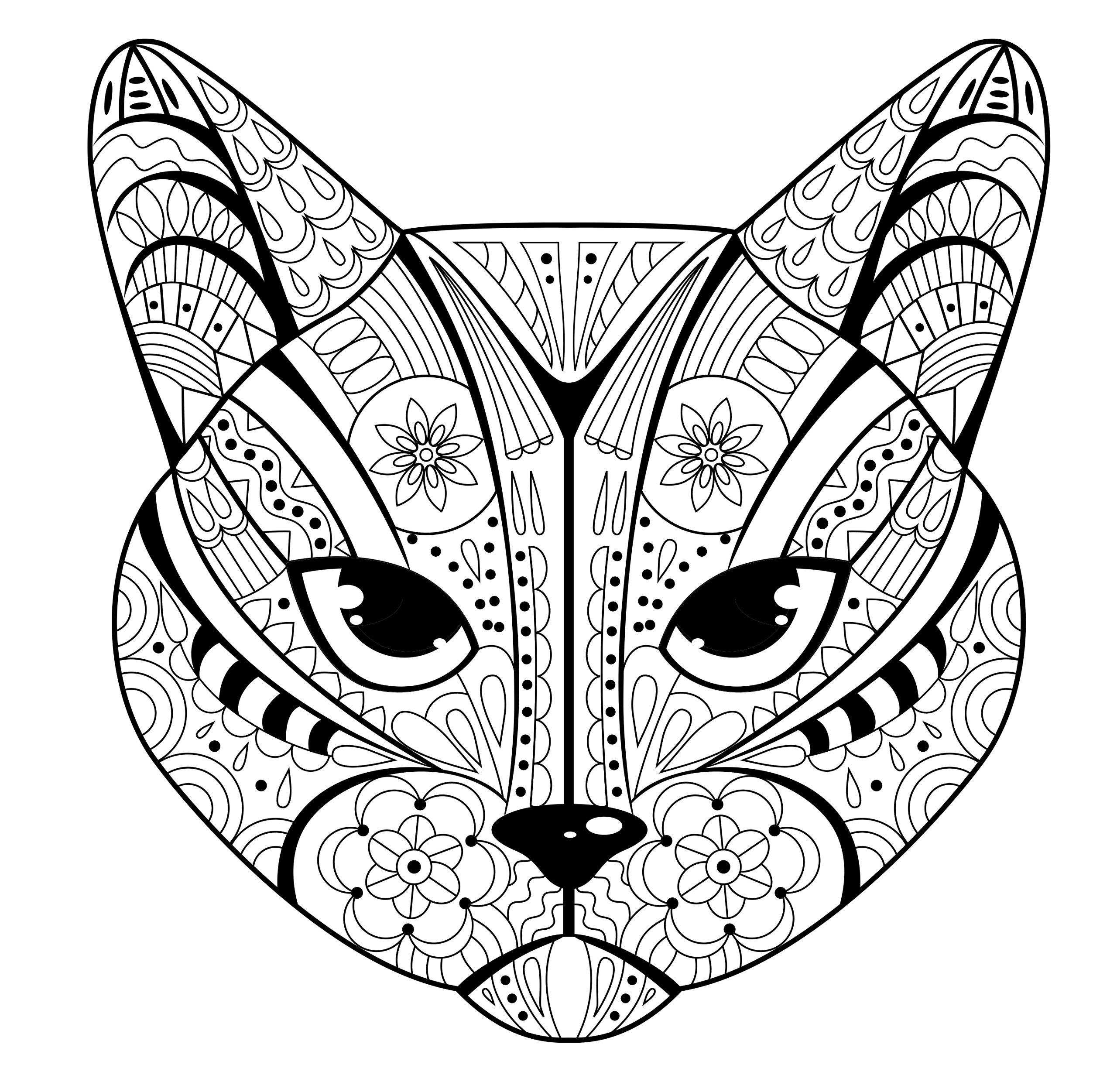 Морда кота с этническим рисунком - Животные - Раскраски ...