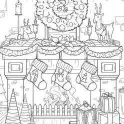 Раскраски сложные для взрослых антистресс «Красиво украшенный камин с подарками и венком», чтобы распечатать
