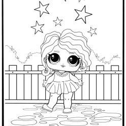 Раскраски для детей Кукла лол «леди волна», чтобы распечатать или скачать
