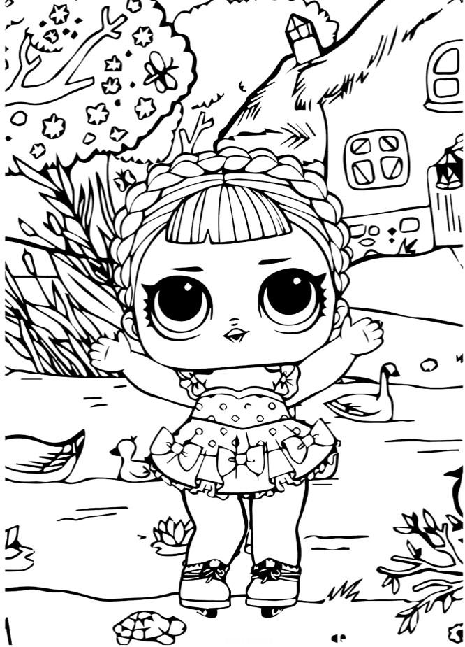 Раскраски для детей Кукла лол «королева катка на природе», чтобы распечатать