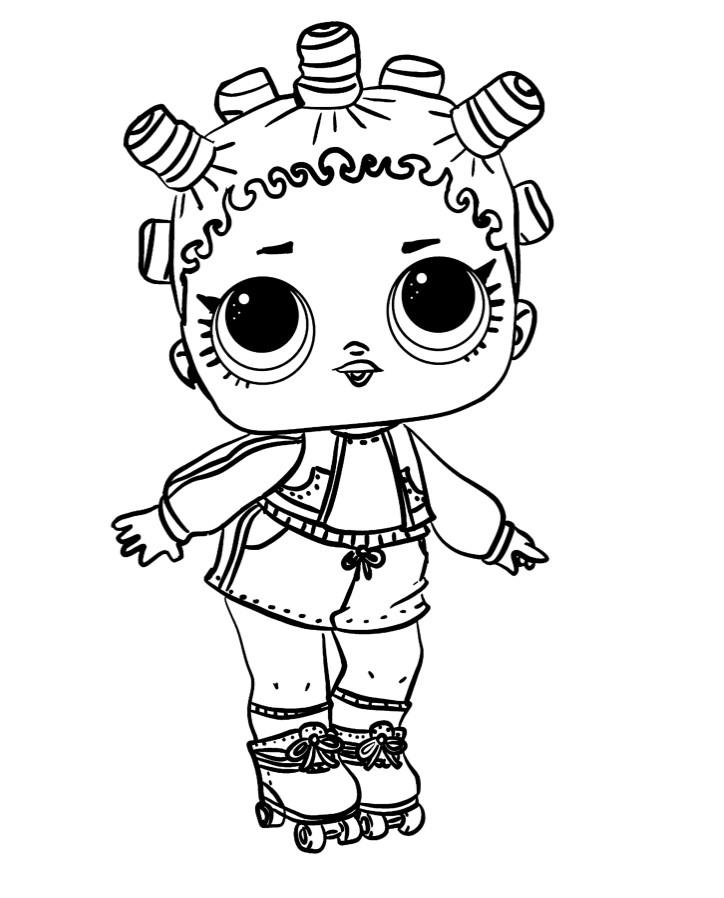 Раскраски для детей Кукла лол «1 серия на роликах», чтобы распечатать формат А4