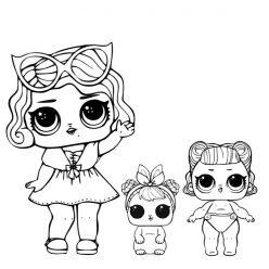 Раскраски для детей Кукла лол «гламур с питомцем и сестренкой», чтобы распечатать и скачать