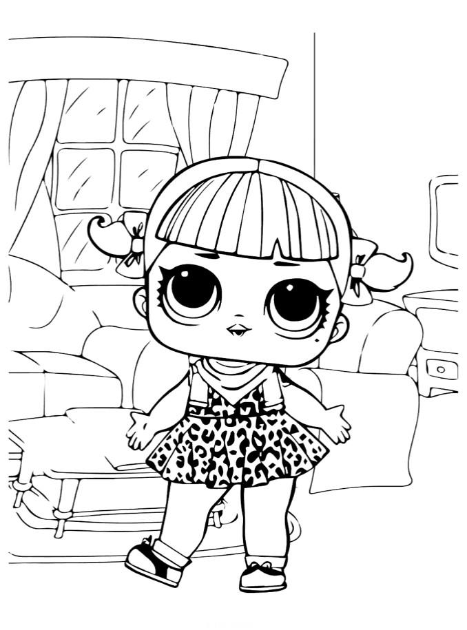 Раскраски для детей Кукла лол «Вишня клуб ретро», чтобы распечатать формат А4