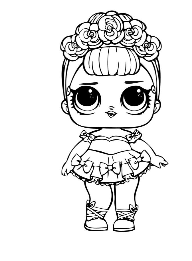 Раскраски для детей Кукла лол «сахарная королева», чтобы распечатать формат А4