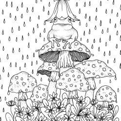 Раскраски для взрослых антистресс «Лягушка на мухоморах в дождь», чтобы распечатать