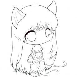 Раскраски аниме для детей антистресс «Девочка с ушками», чтобы распечатать