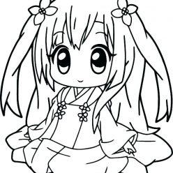 Раскраски аниме для детей антистресс «Малышка в кимоно», чтобы распечатать