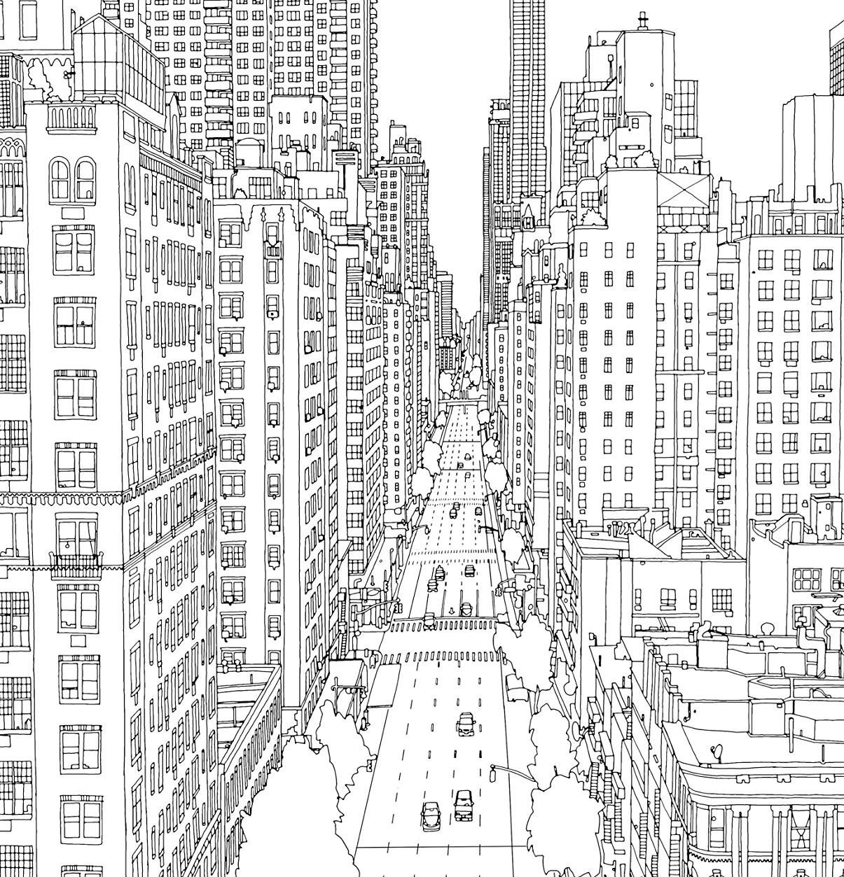 Раскраски сложные для взрослых антистресс  город «Манхэттен Нью Йорк», чтобы распечатать