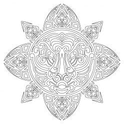 Рисунки маори «Лев» - Раскраски антистресс онлайн