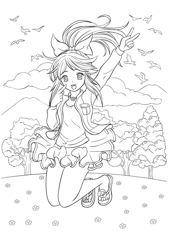 Раскраски аниме для детей антистресс «Милая девочка», чтобы распечатать