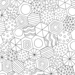 Раскраска антистресс многоугольники, чтобы распечатать в хорошем качестве или раскрасить онлайн