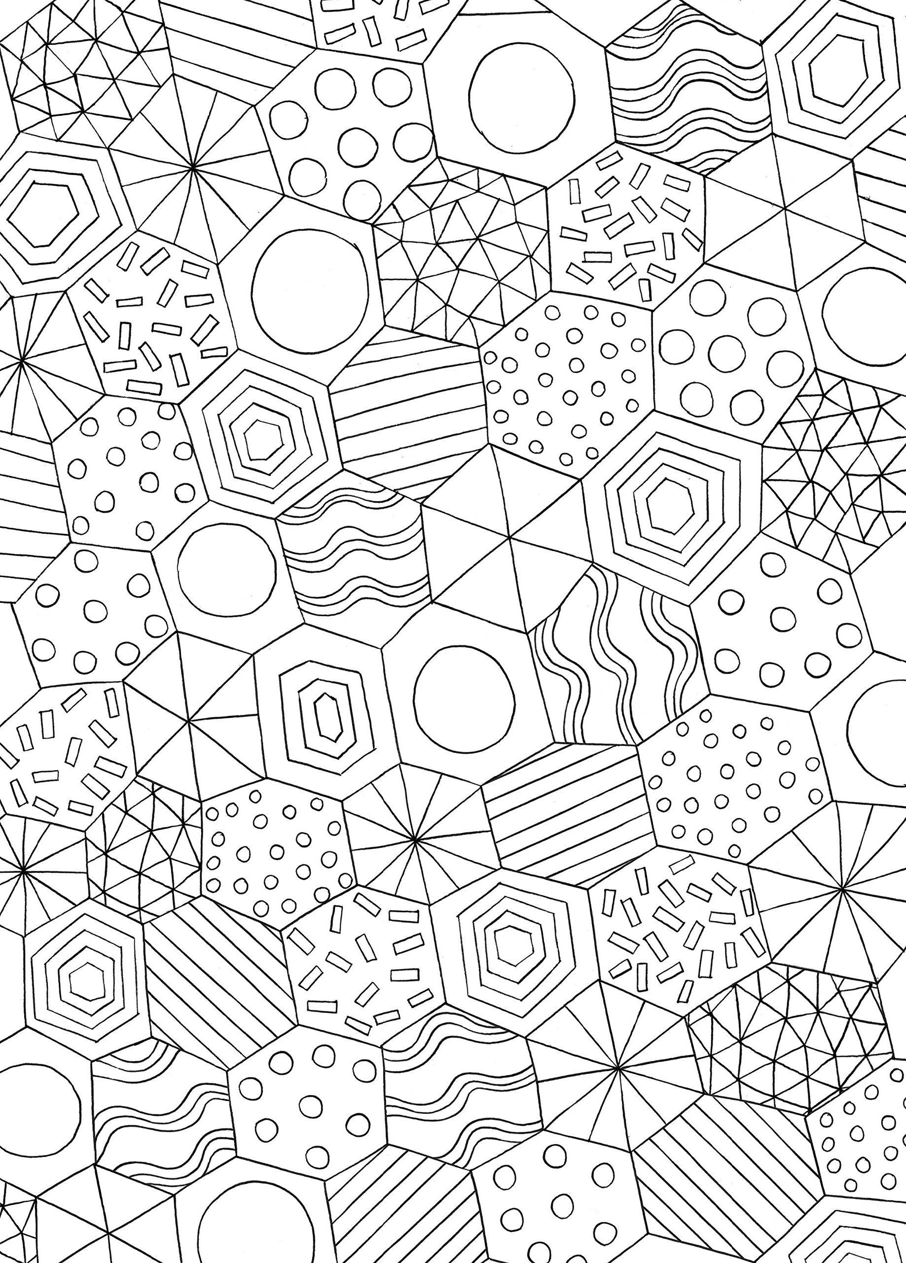 Раскраска антистресс многоугольники, чтобы распечатать в хорошем качестве