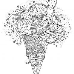 Раскраски сложные для взрослых антистресс «Мороженое рожок с фруктами», чтобы распечатать