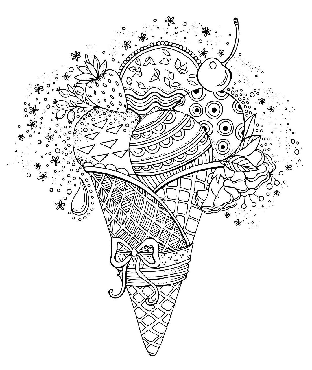Мороженое рожок с фруктами - Сладости - Раскраски антистресс