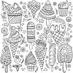 Раскраски сложные для взрослых антистресс «Мороженое - эскимо, на палочке, рожок, шарики», чтобы распечатать