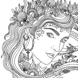 Раскраски антистресс «Морская королева», чтобы распечатать