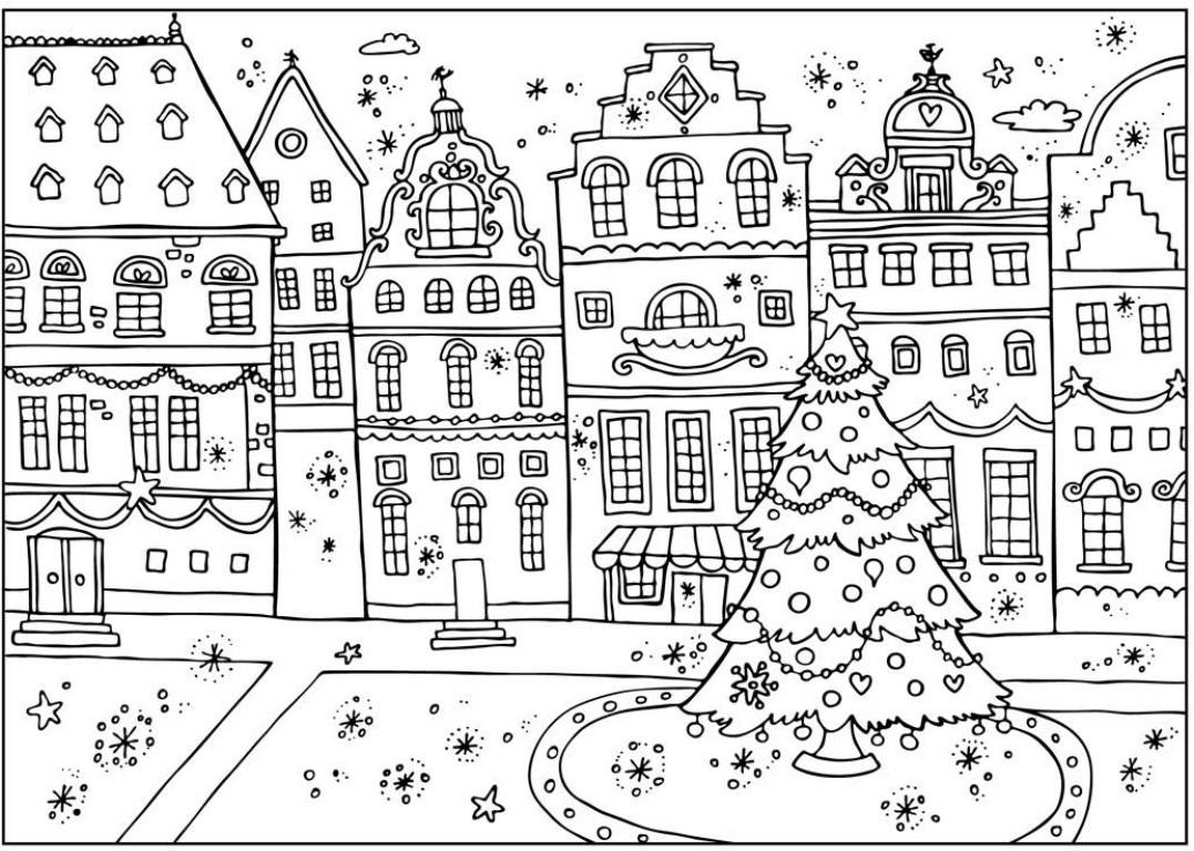 Картинка антистресс «Площадь украшена в новогодние праздники», чтобы распечатать