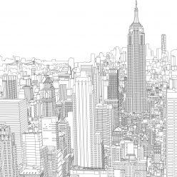Раскраски сложные для взрослых антистресс «Небоскребы Нью Йорка», чтобы распечатать