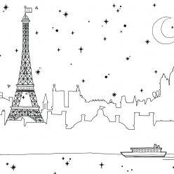 Раскраски сложные для взрослых антистресс город «Ночной Париж», чтобы распечатать