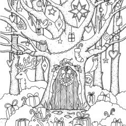 Раскраски сложные для взрослых антистресс «Новый год в лесу», чтобы распечатать