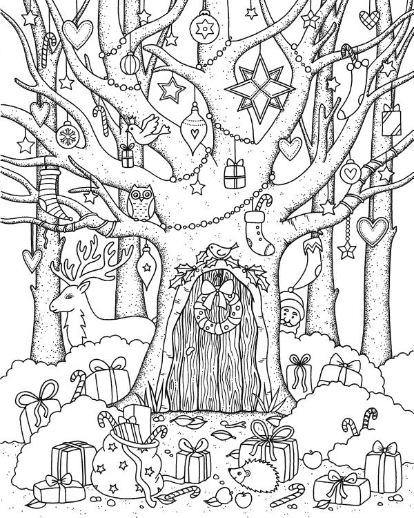 Новый год в лесу - Новый год - Раскраски антистресс
