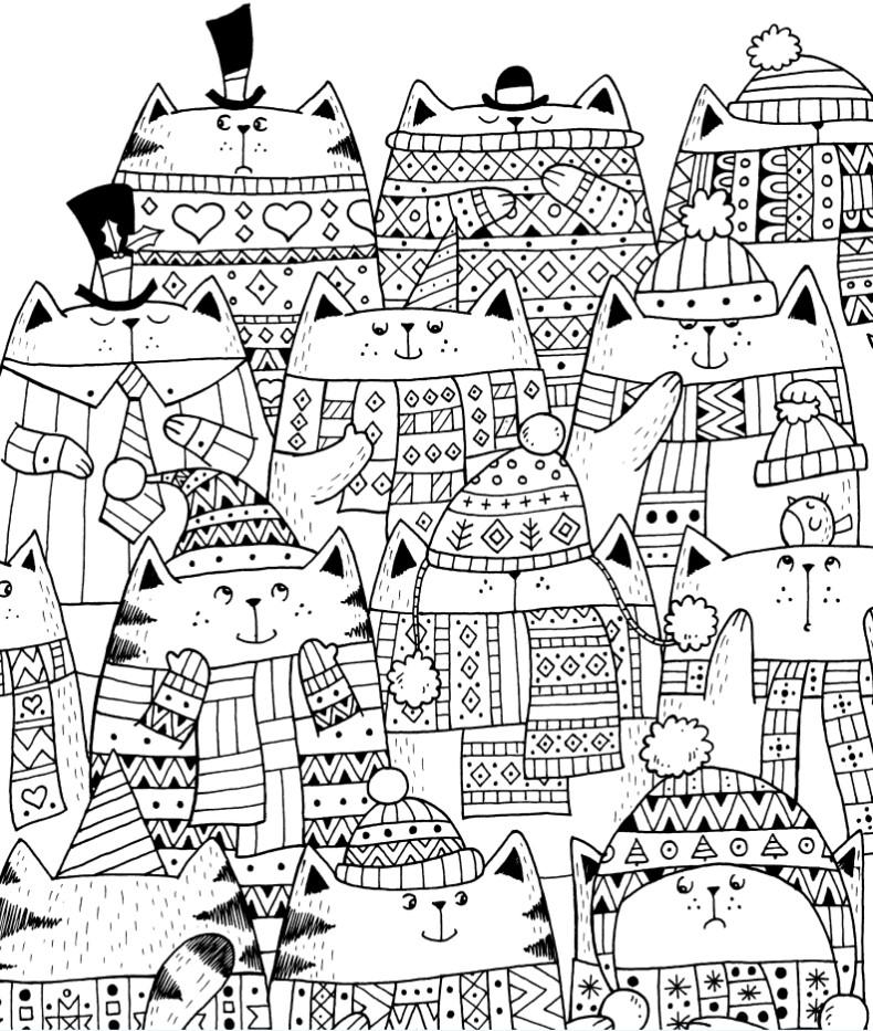 Раскраски сложные для взрослых антистресс «Новогодние котики», чтобы распечатать