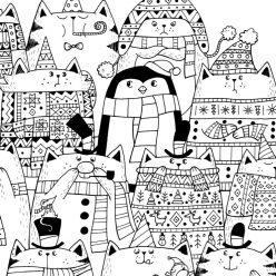 Раскраски сложные для взрослых антистресс «Новогодние котики и пингвин», чтобы распечатать