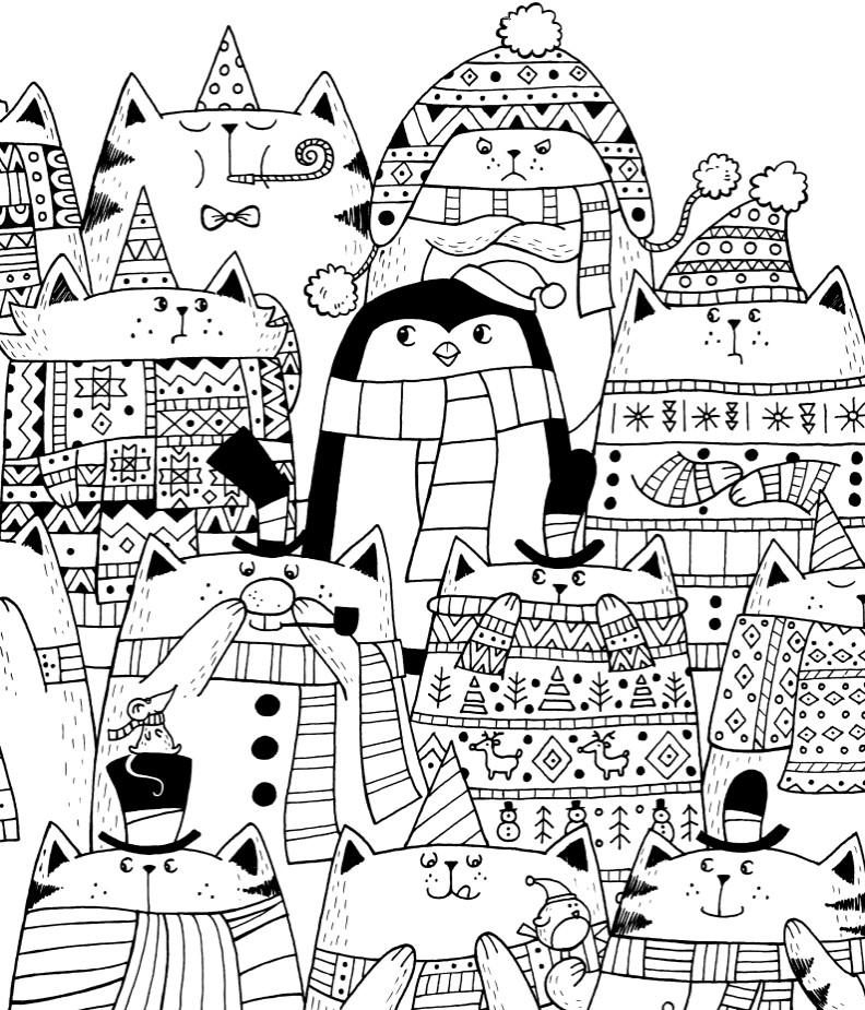 Новогодние котики и пингвин - Новый год - Раскраски антистресс