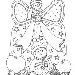 Раскраски сложные для взрослых антистресс «Новогодние совы», чтобы распечатать