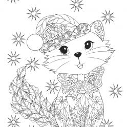 Раскраски сложные для взрослых антистресс «Котик в новогодней шапке», чтобы распечатать
