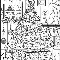 Раскраски сложные антистресс Новый год «Красивая большая новогодняя елка», чтобы распечатат