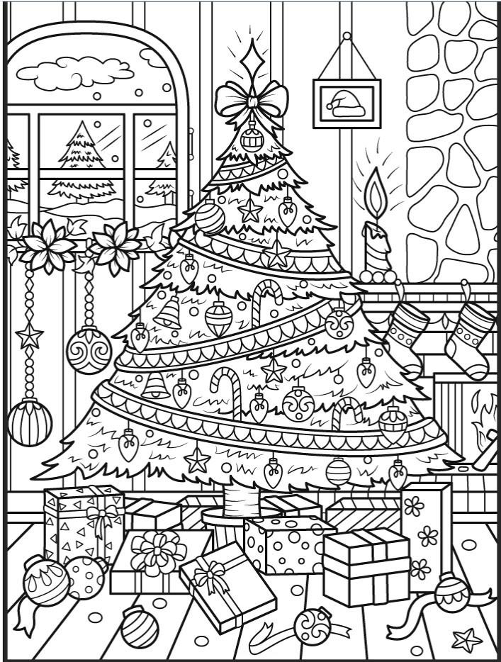 Красивая большая новогодняя елка - Новый год - Раскраски ...