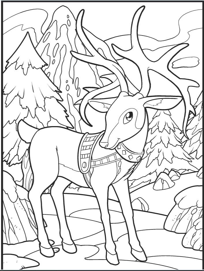 Раскраски сложные антистресс «Новогодний олень», чтобы распечатать