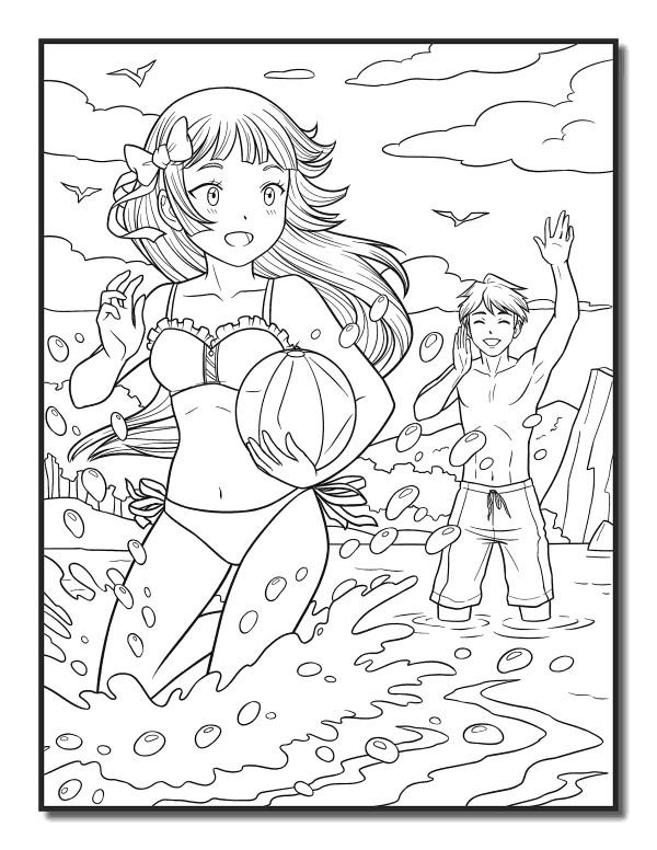 Раскраски аниме для детей антистресс «Парень и девочка», чтобы распечатать